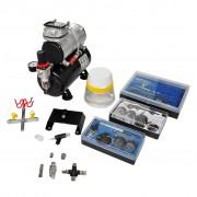 vidaXL Airbrush kompresor set s 3 pistolemi