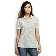 ランズエンド LANDS' END レディース・コットンメッシュ・ポロ/半袖/柄/ポロシャツ(アイボリー/ブラックドット)