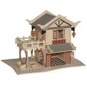 Asamblea WP-160 DIY casa de te de juguete de modelo - Madera Color Rojo +