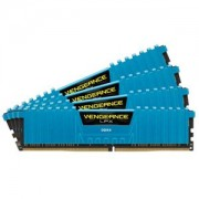 Memorie Corsair Vengeance LPX Blue 16GB (4x4GB) DDR4 3000MHz 1.35V CL15 Quad Channel Kit, CMK16GX4M4B3000C15B