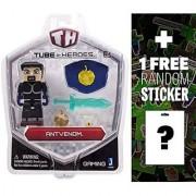 AntVenom: Tube Heroes Mini Action Figure Series + 1 FREE Official Minecraft Mini-Sticker Sheet Bundle