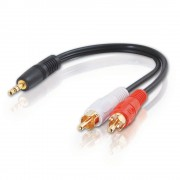 C2G Value Series 3.5mm Stereo Plug/RCA Plug x2 Y-Cable 0.15m 3.5mm 2 x RCA Black audio cable