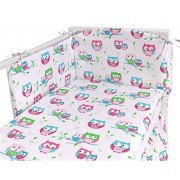 Sevira Kids Parure de lit bébé avec tour du lit 3 pièces en coton Bio certifié - Fantaisie Hiboux Blanc