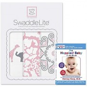 SwaddleDesigns SwaddleLite 3 piece with The Happiest Baby On The Block DVD Bundle Lush Lite Pink