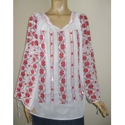 Hand Embroidered Romanian Ethnic Blouse - RED CLOVER - size M / L