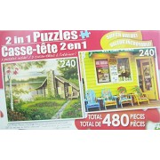 480 Piece 2-in-1 Puzzle ~ Misty Lake Cottage & Storefront with Colorful Chairs, Key West, Florida(2 X 240pc Puzzles - Mixed in 1 Box)