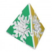 3x3x3 Pyramid Shaped Educational Gear Magic Cube - White + Multicolored