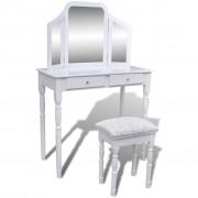 vidaXL Тоалетка с тройно огледало и табуретка, 2 чекмеджета, бяла