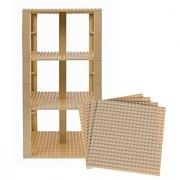 Premium Sandy Yellow Stackable Base Plates - 4 Pack 6 x 6 Baseplate Bundle with 30 Sandy Yellow Bonus Building Bricks (LEGO Compatible) - Tower Construction