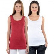 NumBrave Maroon White Tank Tops Combo