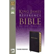 KJV, Reference Bible, Giant Print, Personal Size, Bonded Leather, Black, Indexed, Red Letter Edition by Zondervan