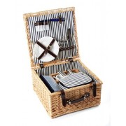 Greenfield Collection Deluxe Sandbanks 2 Person Picnic Hamper in Full Buff Willow