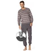 Comte for men Heren badstof pyjama streepjes grijs van Comte for men