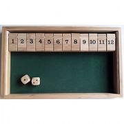 WISDOMTOY Bamboo Deluxe 12 Number Shut the Box Dice Board Game Toy for Kids and Adults