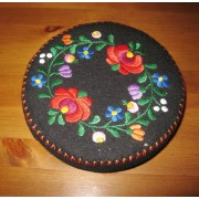 Hand embroidered Matyo Kalocsa trinket, Hungarian jewelry box - black