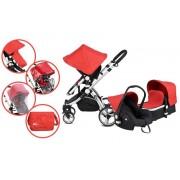 MamaKiddies Prémium Baby 3 az 1-ben babakocsi kiegészítőkkel piros színben + Ajándék