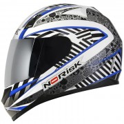 Capacete FF391 Doom White Blue e Red - Norisk