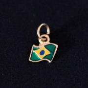 Semi Pendant Jewelry Gold Plated Flag of Brazil