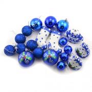 Set globuri pentru craciun albastre cu sclipici
