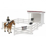 Bruder Small Horse Stable with Horse and Woman White