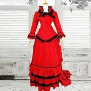 Uma-Peça/Vestidos / Ternos de Empregadas Lolita Clássica e Tradicional Vitoriano Cosplay Vestidos Lolita Vermelho Vintage Manga Comprida