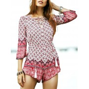 Zaful Lace-Up Ethnic Pattern Playsuit