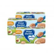 Mellin Primi Dentini Carne - Kit risparmio 3x Primi Dentini Vitello - Kit 3x Confezione da 160 g ℮ (2 vasetti x 80 g)