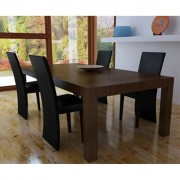 vidaXL Комплект кухненски столове, 4 броя, цвят черен