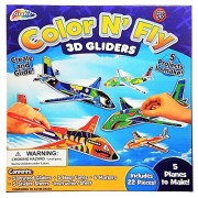 Grafix Color N' Fly 3D Gliders - Printed Glider Airplane Construction Kit | Create Up to 5 Plane Gliders | Includes 22 Pieces Total