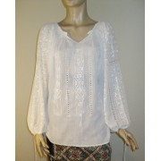 Hand embroidered Romanian blouse - 16 corner stars - ivory on ivory - M size