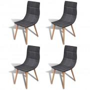 vidaXL Комплект трапезарни столове в тъмносиво, 4 броя