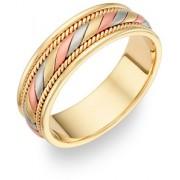 14K Tri-Color Gold Design Wedding Band Ring