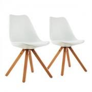 oneConcept Onassis, fehér, kagylóüléses szék, 2 darabos készlet, retro, kárpitozott, nyírfa (DTF4-Onassis-White)