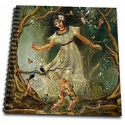 3dRose db_11674_1 Native American Girl from Long Ago on a Walk Through The Forest Surrounded by Birds and Butterflies Drawing Book 8 by 8-Inch