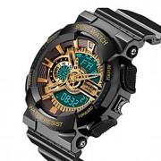 Masculino Relógio Esportivo Quartzo Japonês LCD / Calendário / Impermeável / Dois Fusos Horários / alarme / Luminoso / Cronômetro Borracha