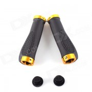 PJ-0026 Mountain Bike Anti-skid Handlebar Grip Cover - Black + Golden (2 PCS)