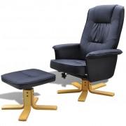 vidaXL Лаундж фотьойл с регулируема облегалка и опора за краката, цвят черен