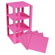 "Premium Pink Stackable Base Plates - 4 Pack 6"" x 6"" Baseplate Bundle with 30 Pink Bonus Building Bricks (LEGO Compatible) - Tower Construction"