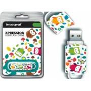 Integral USB Flash Drive Xpression 16GB USB 2.0 - Owls