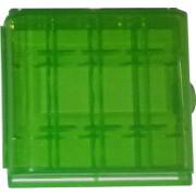 Estuche organizador de plástico VERDE para 4 Pilas AA / AAA