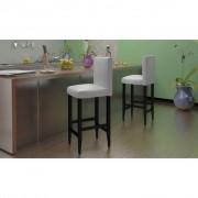 vidaXL Banco para bar de madeira couro sintetico branco 2 peças