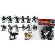 Dragons & Knights Figure Playset (12 Knights w/Weapons, Shields & 2 Winged Horses) (Bagged) 1/32 Playsets