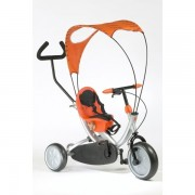 Oko tricikli - narancsos piros színű bicikli szülőkarral