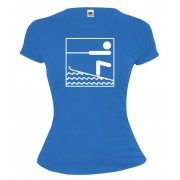Girlie T-Shirt Ski Nautique - Waterskiing-Pictogramme-Royal-White