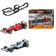 Carrera GO!!! 20062393 - Set Costruzioni Push 'N Pass: Ferrari SF15-TS.Vettel+ Mercedes F1 W06 L.Hamilton, 8.9 m