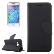 Cross Texture Contrast Color Style Leather Case with Holder & Card Slots & Wallet for Samsung Galaxy J1 Ace / J110(Black)