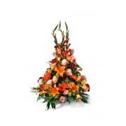 Interflora Centro vertical en tonos naranjas - Centro naranja