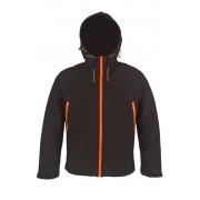 Softshelljacke mit Laminierung, Farbe schwarz-orange, Größe 3XL