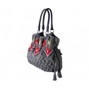 Eden Bag (dark heather) - torebka z włóczki wzór norweski