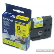 BROTHER TZ Tape, 9mm Black on Yellow, Laminated, 8m lenght, for P-Touch (TZE621)